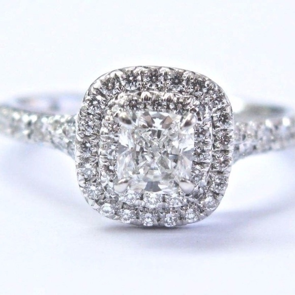 Tiffany Co Platinum Cushion Cut Diamond Soleste